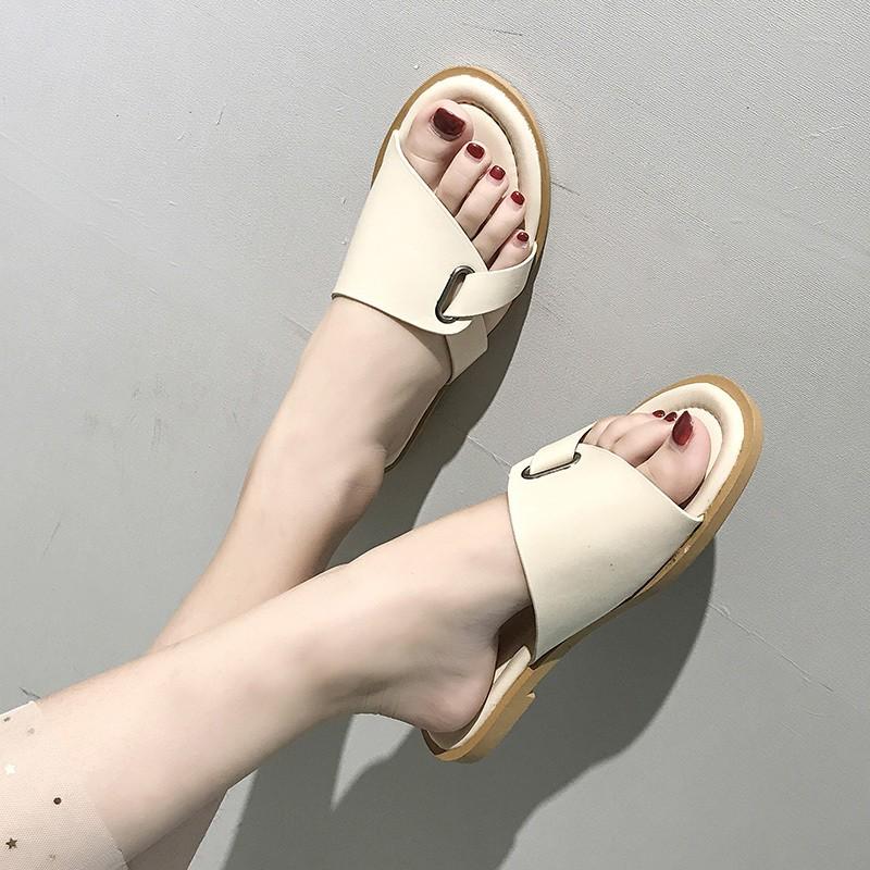 2019 female Xia Pingdi open-toe slipper slippers wearing flat non-slip slippers ins tide