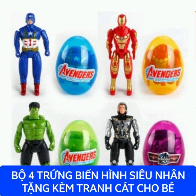 Combo 4 trứng biến hình siêu anh hùng (tặng kèm tranh cát)