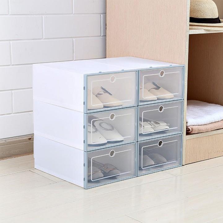 hộp giày nhựa cứng size lớn (33cmx24cmx14cm) tặng kèm gói hút ẩm