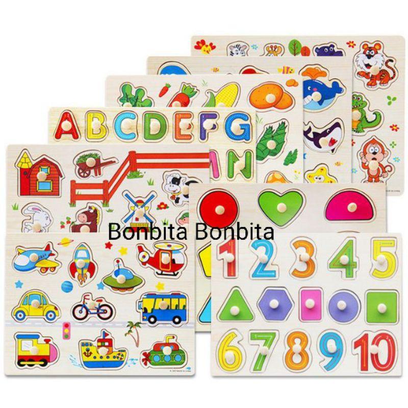 Đồ chơi bảng ghép hình núm gỗ Bảng gỗ có núm cho bé loại to đẹp 22×30cm nhiều chủ đề