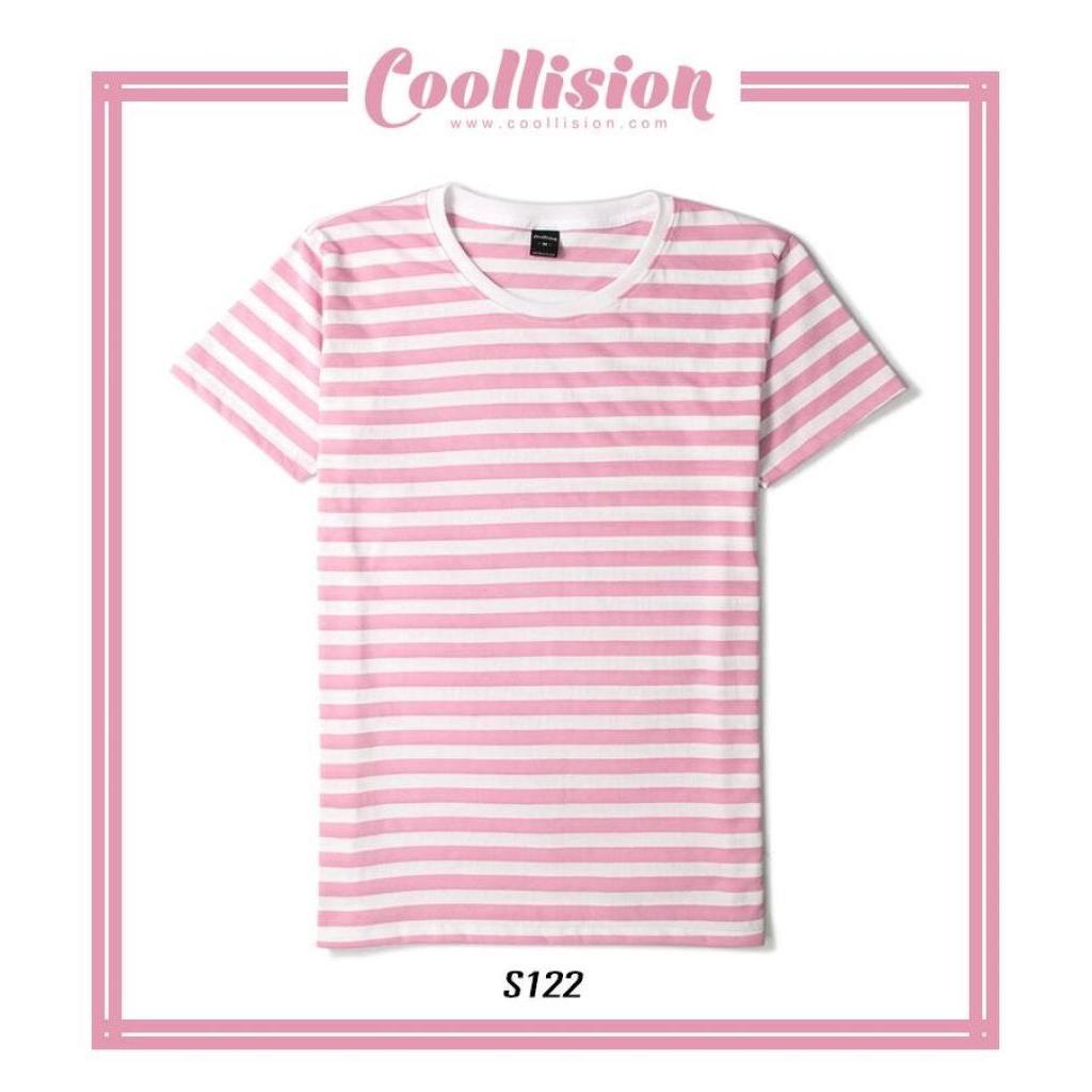LLISION เสื้อยืดแขนสั้นลายทาง สีชมพูอ่อนสลับขาว ริ้ว 1 ซมLLISION เสื้อยืดแขนสั้นลายทาง สีชมพูอ่อนสลับขาว ริ้ว 1 ซม.