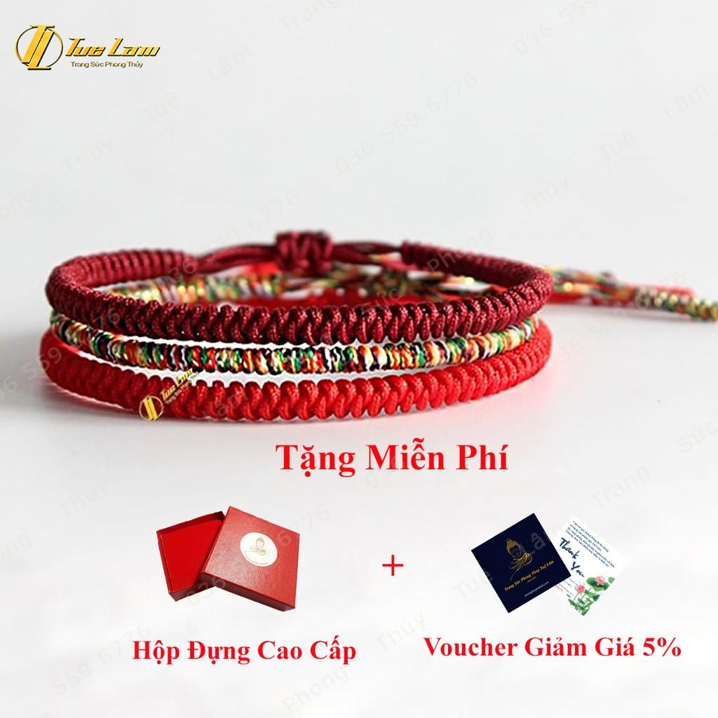 [DIY bracelets] Vòng Tay Set 3 Vòng Chỉ Tây Tạng Tông Đỏ Ngũ Sắc - DIY Tuệ Lâm