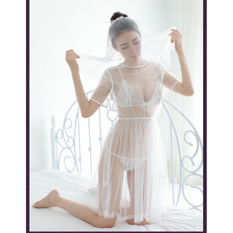 Váy ngủ cô dâu - Váy ngủ sexy - váy ngủ màu trắng G28 - Đầm ngủ sexy - váy ngủ gợi cảm - váy ngủ voan trắng váy ngủ đẹp