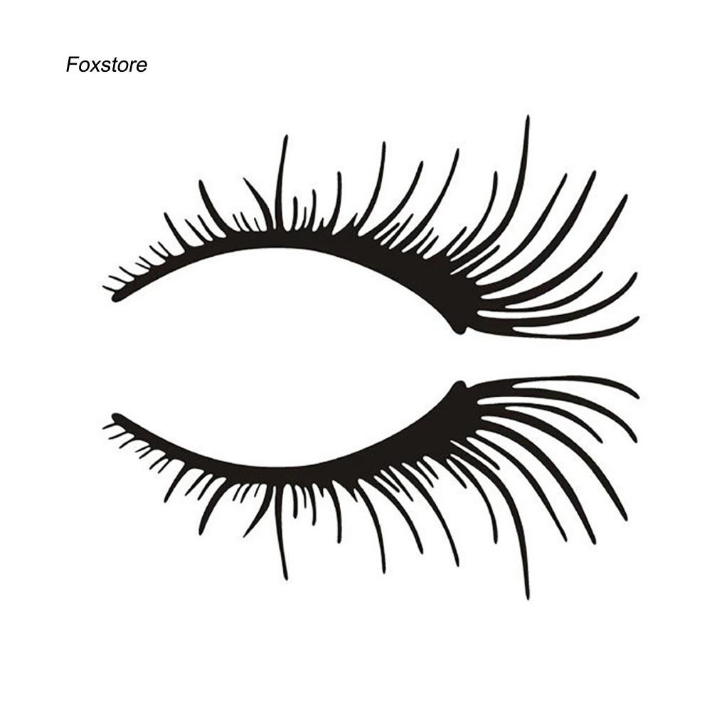 FXTE_2Pcs Eyelashes Eyebrow Waterproof Removable Car Styling Sticker Decal Decor