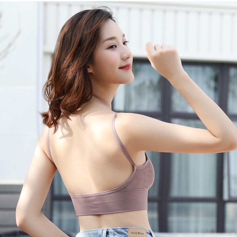 Áo bra nữ  gân tăm đẹp 2 dây hở lưng khoét lưng chữ U - bra V09