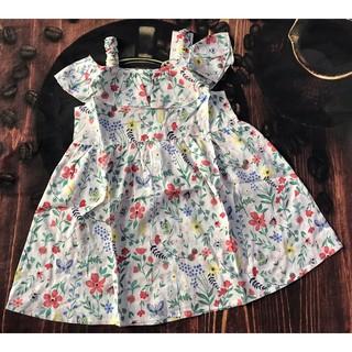 Đầm hai dây cho bé gái, vải boil xuất dư, size 2-8 từ 8kg - 24kg, kiểu dáng đơn giản thanh lịch, vườn hoa đủ màu sắc