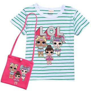 Kids Anime Cartoon LOL Surprise Doll Printed Short Sleeves T Shirt Girls Round Neck Casual Top Basic Shirt + Bag Children Clothing Set