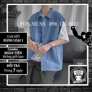 [ẢNH THẬT TỰ CHỤP] Áo jean ghi lê nam form rộng – áo bò ghi lê phong cách Hàn Quốc 2021