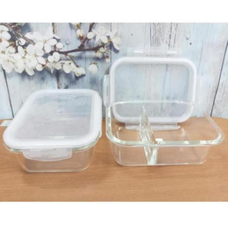 Hộp thủy tinh đựng thực phẩm 2 ngăn, 3 ngăn tiện dụng
