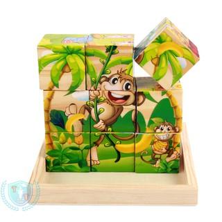 Đồ chơi ghép hình 6 mặt bằng 9 miếng gỗ cho bé lắp ghép được 6 bức tranh khác nhau (TẶNG NGAY KHAY ĐỰNG GỖ KÈM BỘ)