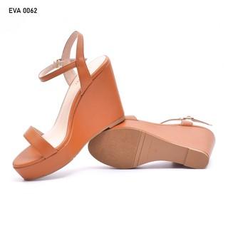 Sandal Đế Xuồng Quai Ngang Mũi Tròn Da PU 8cm Evashoes - Eva0062 thumbnail