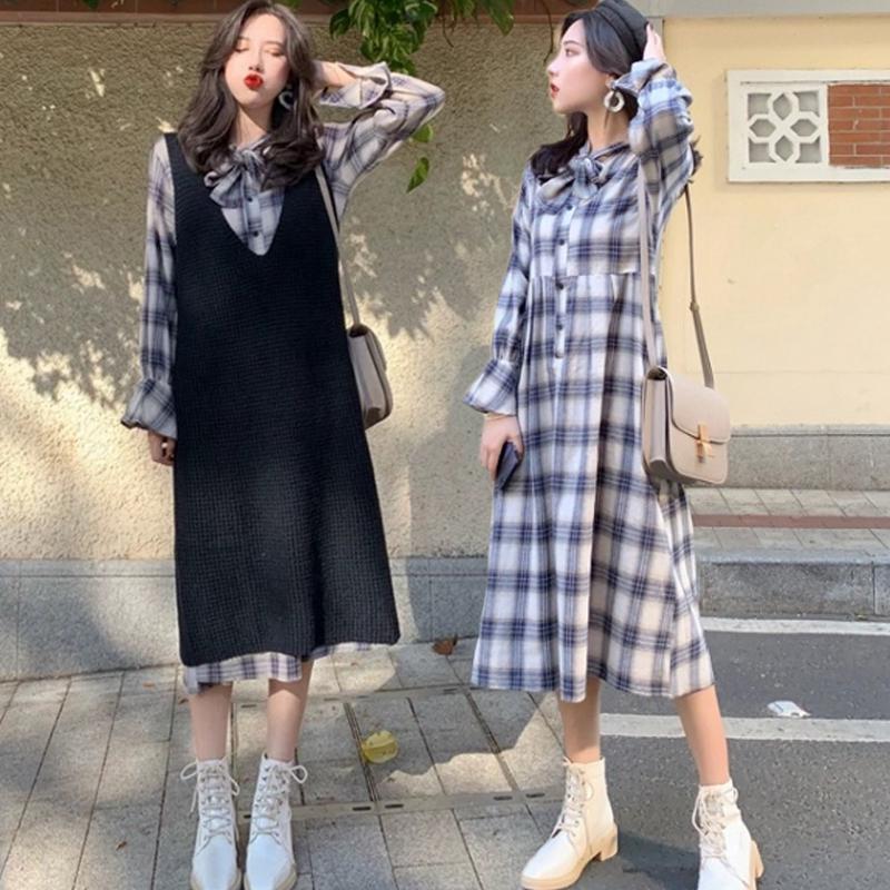 2876327304 - Bộ Áo Sơ Mi Dài Tay Kẻ Sọc Phối Chân Váy Yếm Trẻ Trung Cho Nữ