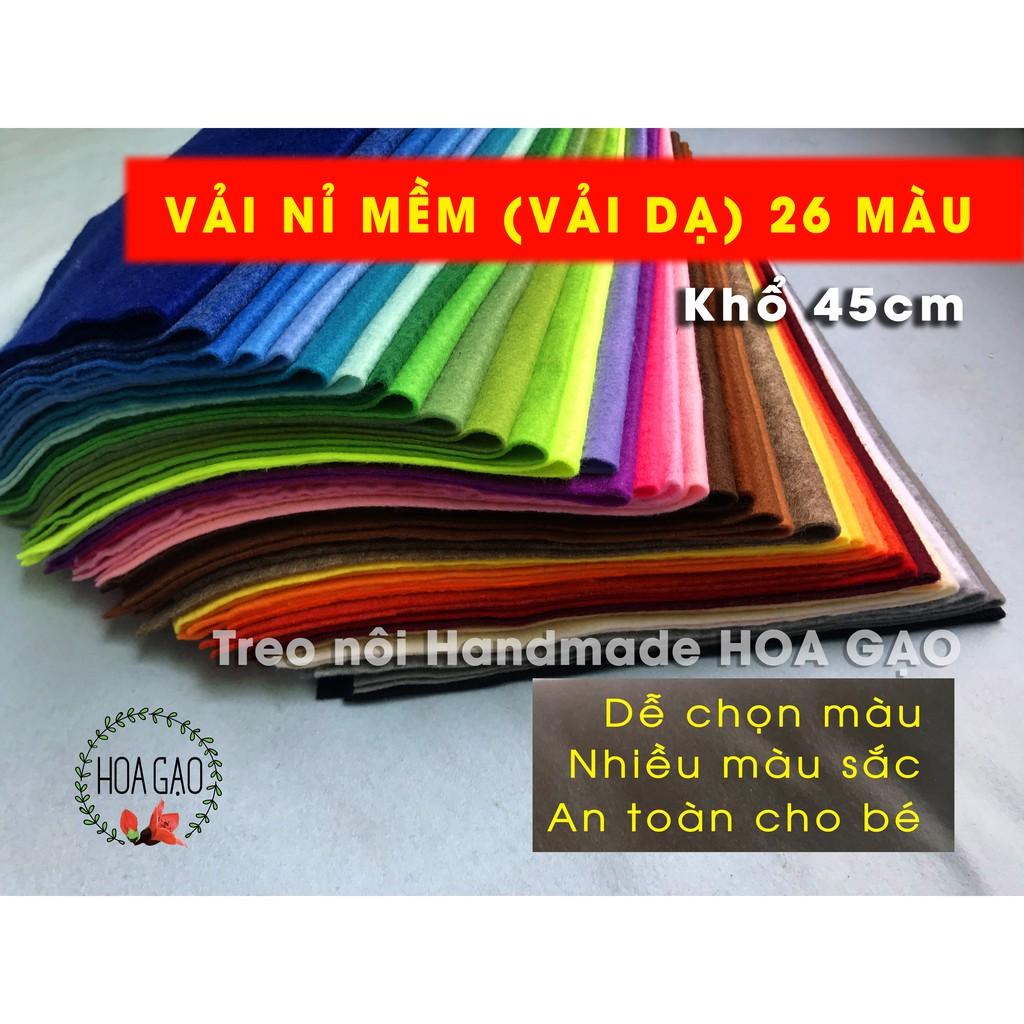Vải dạ mềm, vải nỉ HGM45 khổ 45cm, làm treo nôi, handmade nhiều màu, dễ may, làm đồ chơi