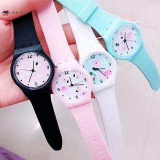 Đồng hồ nhựa dẻo màu kẹo họa tiết chim hồng hạc