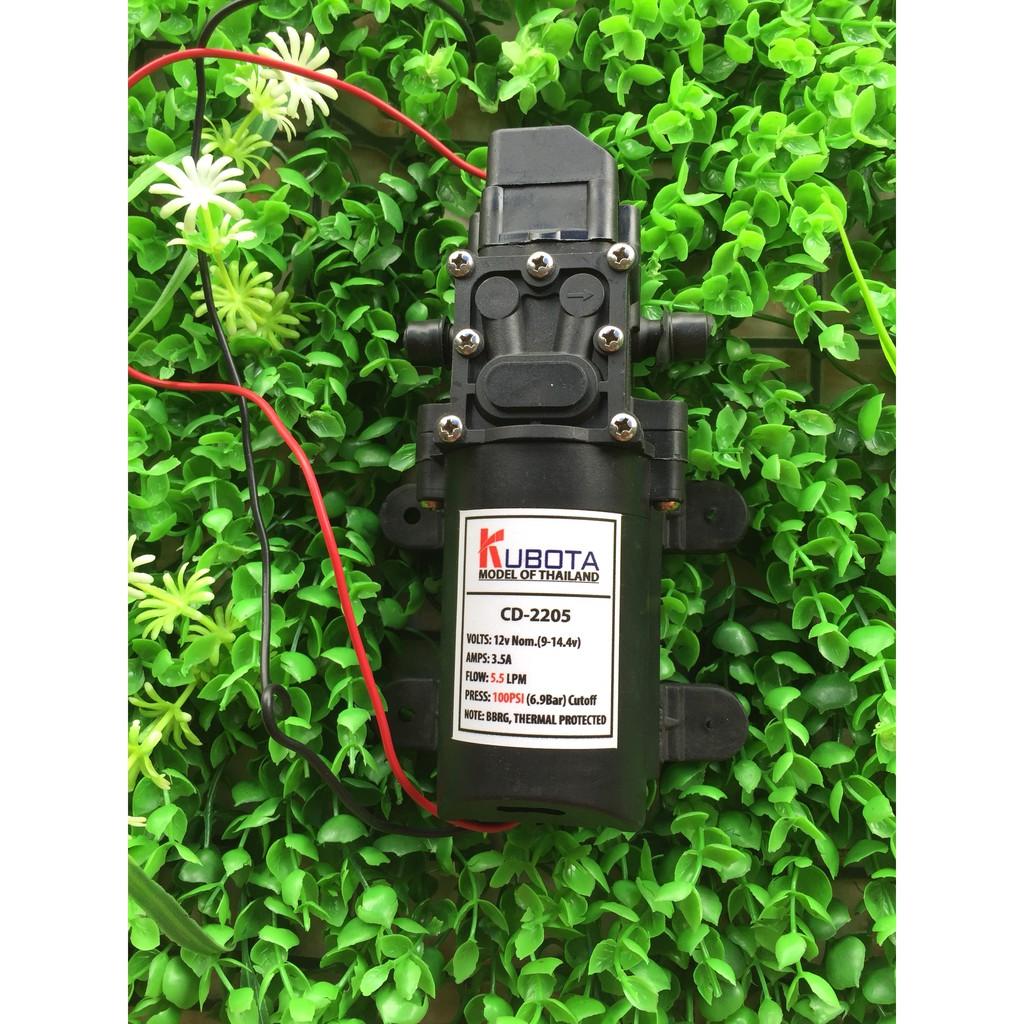 Máy bơm nước mini 12V áp lực cao Lưu lượng nước 5.5L phút Sử dụng làm bộ phun sương tưới cây bộ rửa xe mini