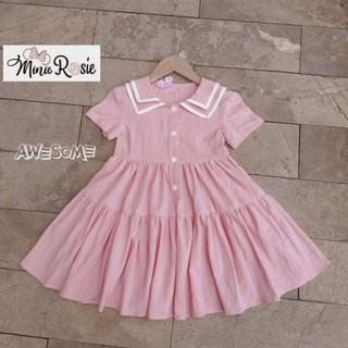 Váy Váy hồng cổ 2 lá viền trắng mở hàng cúc phía trước rất xinh.RIO chất thô đũi hàng có sẵn kèm ảnh thật, vid