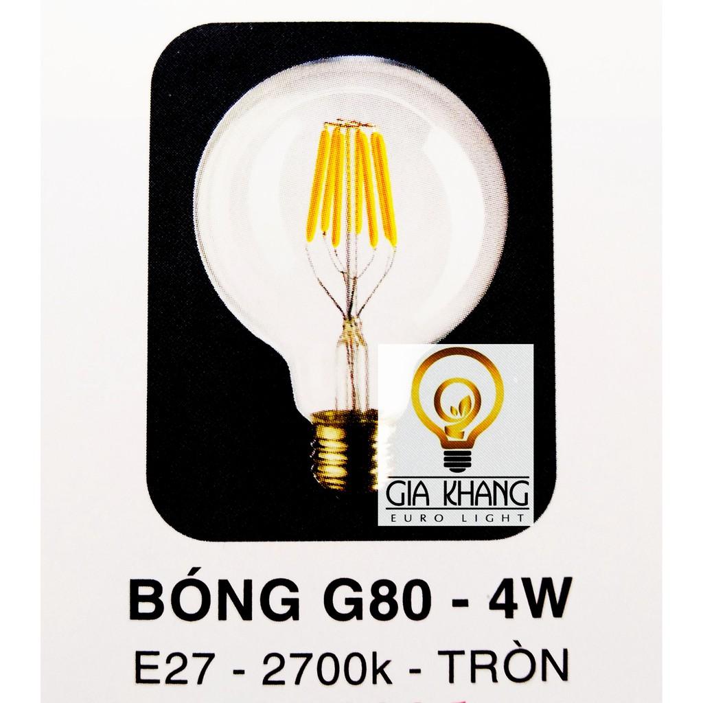Bóng Đèn Led Edison Tròn  G80 4W Ánh Sáng Vàng 2700K