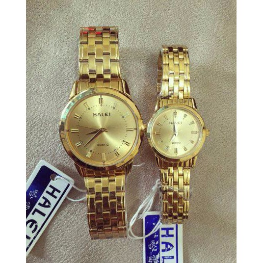 đồng hồ đôi halei mặt vàng dây vàng siêu đẹp cho các cặp đôi - dongh