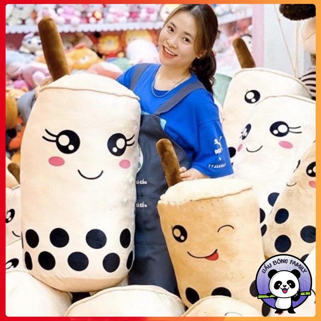 Gấu bông gối ôm bình trà sữa nhồi bông chất liệu vải nhung Hàn Quốc size 20-30-45cm