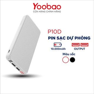 Pin Sạc dự phòng YOOBAO P10D 10000mAh Slim, 3 đầu vào/ 2 đầu ra/ LED - Hàng chính hãng