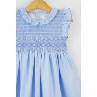 Đầm Smock xanh thiên thanh cổ tròn cho bé gái