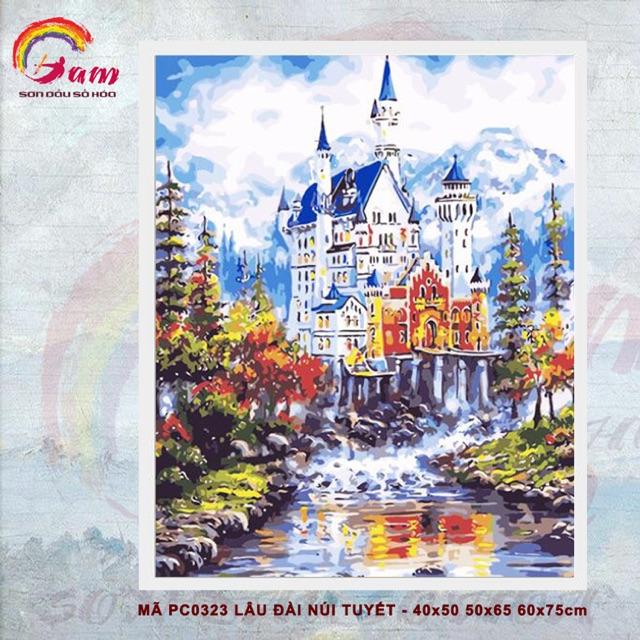 Tranh sơn dầu số hoá DIY tự tô - Lâu đài núi tuyết - Mã PC0323 40x50cm