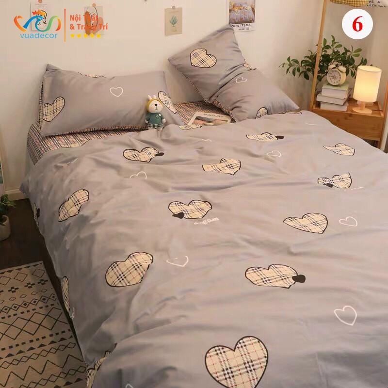 Set vỏ chăn ga gối VUADECOR cotton Poly họa tiết trái tim trang trí, decor phòng ngủ phong cách Hàn Quốc