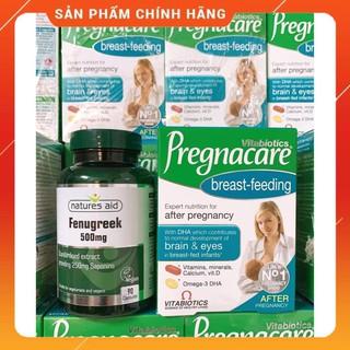 [Auth] Combo lợi sữa cỏ cà ri Fenugreek & Vitamin Pregnacare breast feeding chính hãng UK