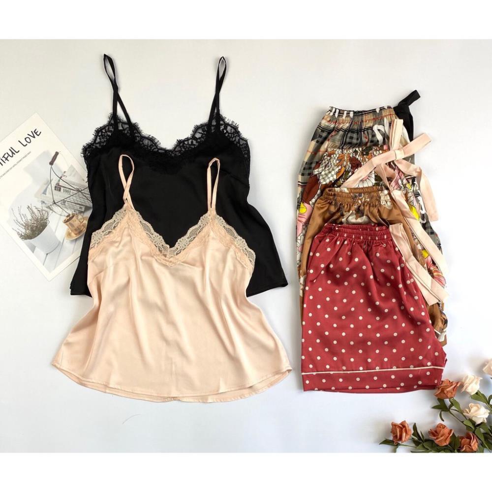 Đồ ngủ nữ chất lụa cao cấp⚡HÀNG HOT⚡ , áo 2 dây, quần short lưng thun, chất vải đẹp, mềm mát, ít nhăn, hỗ trợ đổi trả SP