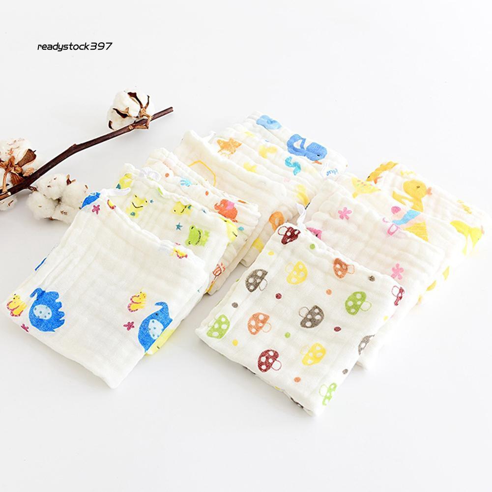 RDSK_6 Layers Cartoon Pattern Baby Saliva Towel Cotton Soft Toddler Feeding Bib
