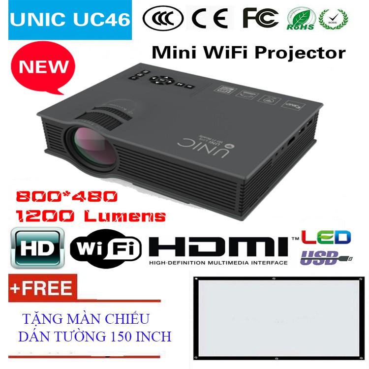 Máy chiếu mini không dây Unic UC46 Wifi + Tặng màn chiếu 150 inch Giá chỉ 1.990.000₫