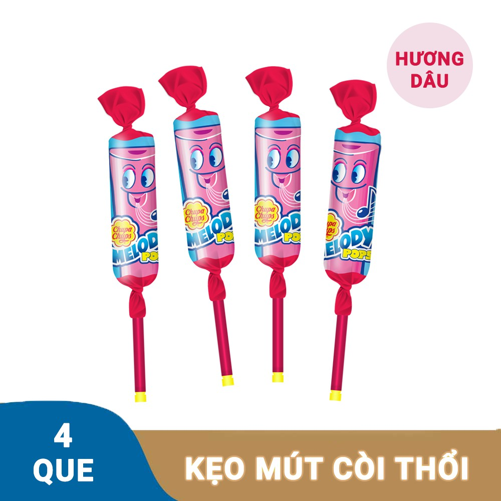 Kẹo Mút Chupa Chups Cây Còi Thổi Hương Dâu (4 Que)