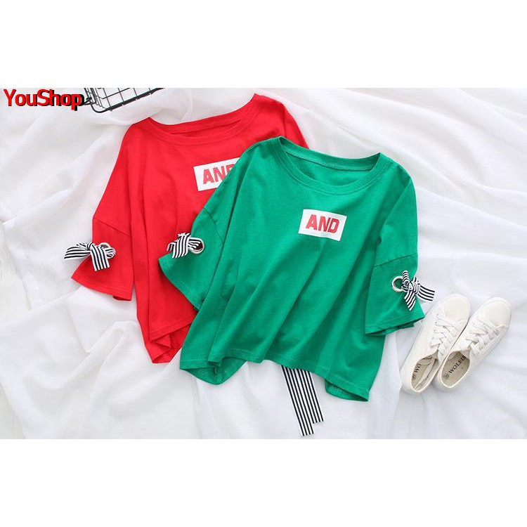 Summer large size short-sleeved t-shirt female 2019 new bandage Han Fan bow ins loose shirt student tide wild