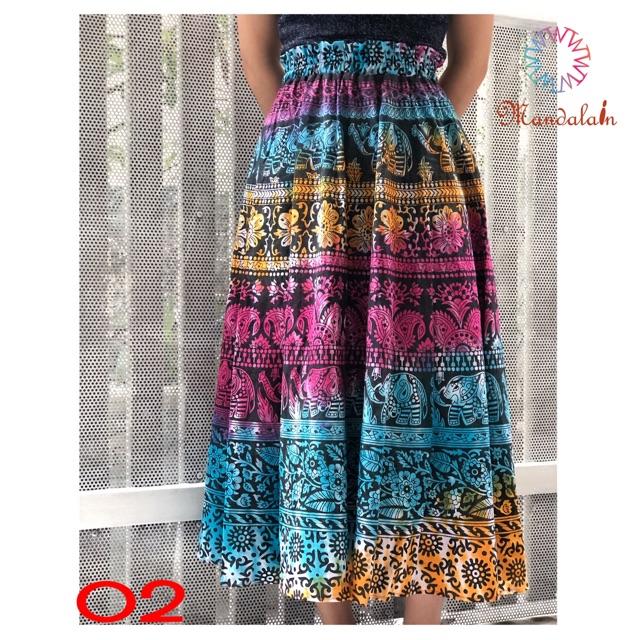 [Hàng nhập] Chân váy xoè thổ cẩm nhập khẩu Ấn Độ  freesize boho đẹp độc lạ