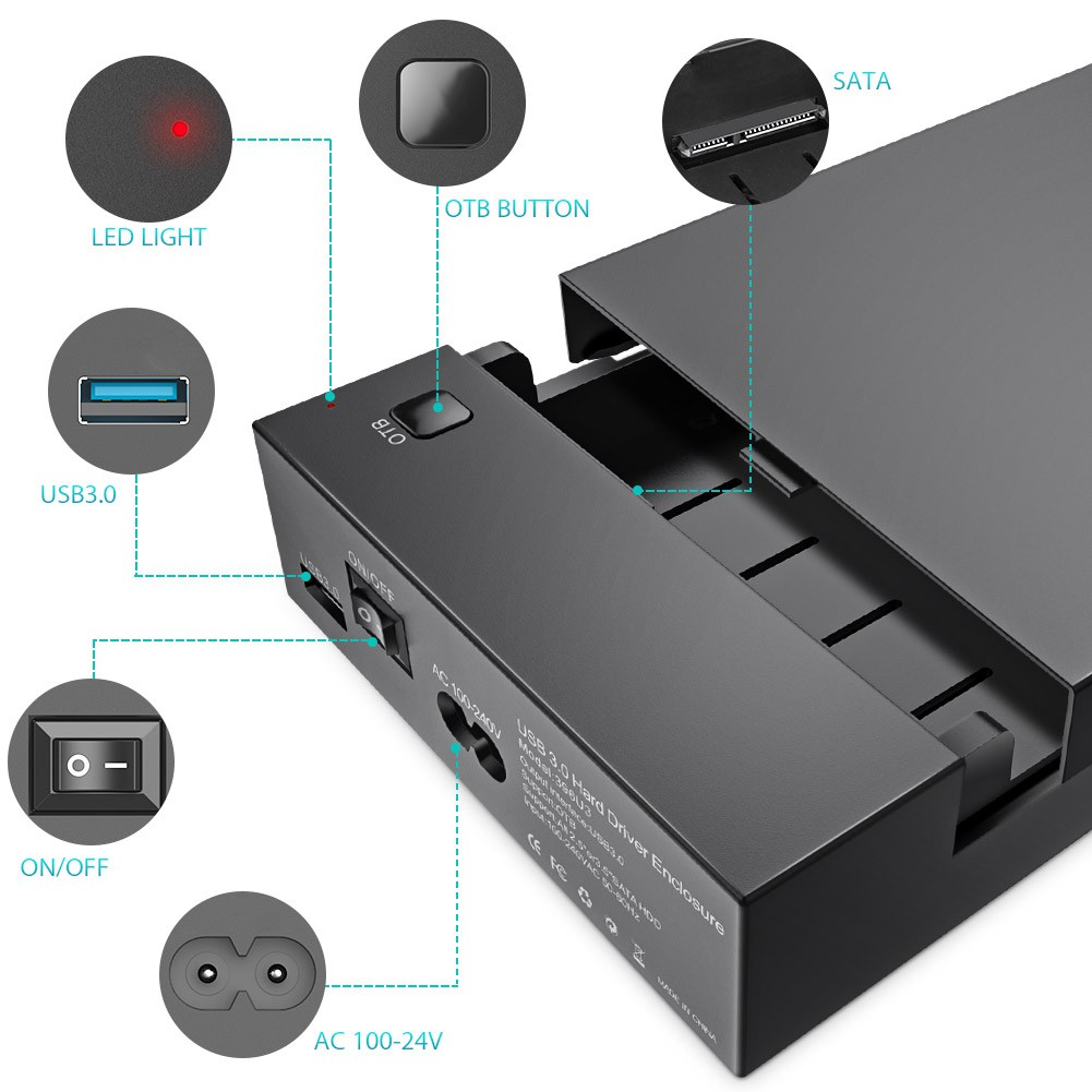 "USB 3.0 External 2.5//3.5/""inch SATA Hard Drive HDD Enclosure Box UASP 8TB Drives"