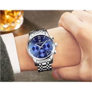 Đồng hồ nam dây thép đặc 6 kim cao cấp Ontheedge (fullbox, Blue)