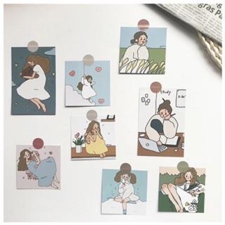 Set 9 tấm thiệp postcard CÔ GÁI có sẵn decor trang trí phòng cực xinh thumbnail