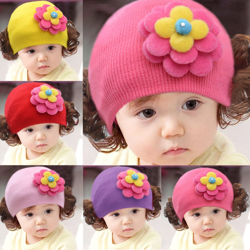 Mũ len gắn họa tiết dễ thương có 2 búi tóc giả cho bé 5-16 tháng tuổi