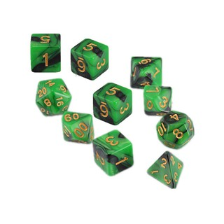 Sunei10pcs Dark Green&Black Dungeons and Dragons Polyhedral Dice Sets w Free Pouches