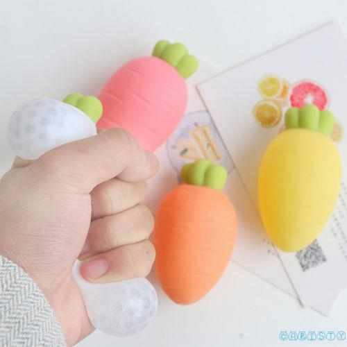 ❤OO❤Squishy Mesh Crystal Carrot Squeeze Rubber Anti-Stress Relief Toys Kids Gift
