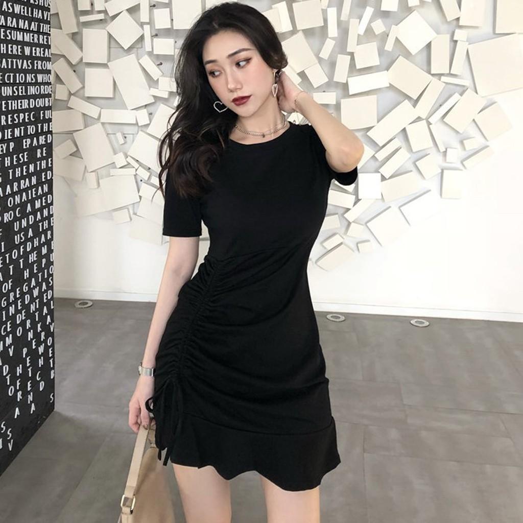 Đầm Tay Ngắn Cổ Tròn Màu Trơn Thời Trang Mùa Hè Cho Nữ