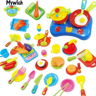 👶🏼60Pcs Educational Pretend Play Ware Set Plastic Cooking Dishes Food Toy