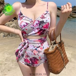 [mingyuan] 2020 New One Piece Pink Nude Flower Catapult tying Bikini Hot Spring Women s Swimwear thumbnail