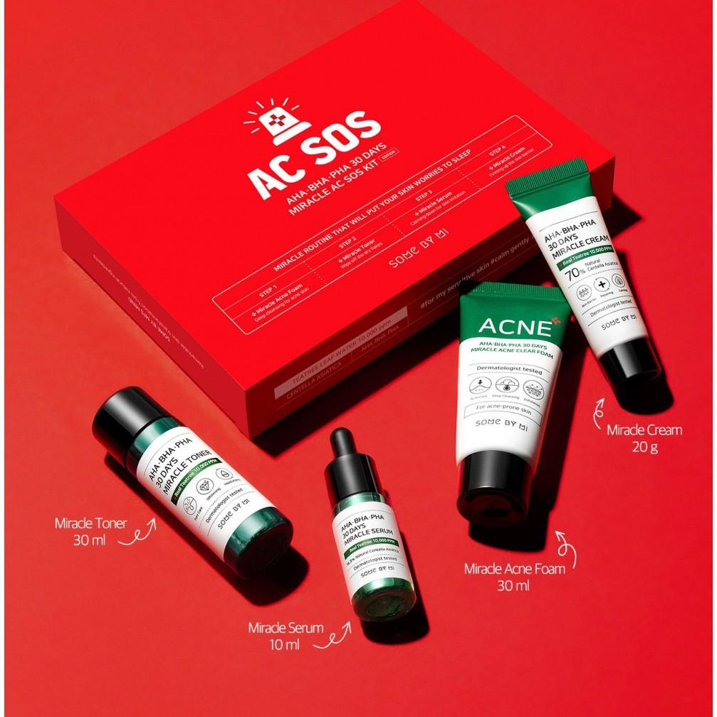 CoCoCosmetic/Giảm giá] Bộ Kit 4 sản phẩm dưỡng da trị mụn Some By Mi AHA.BHA .PHA 30 Days Miracle AC SOS Kit | Shopee Việt Nam