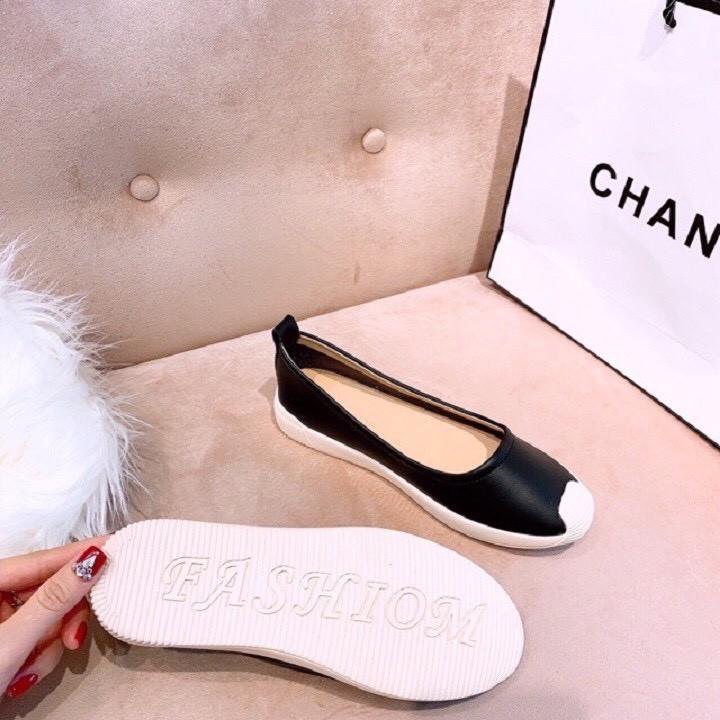 Giày nữ mũi sóng- giày slipon - giày da mềm