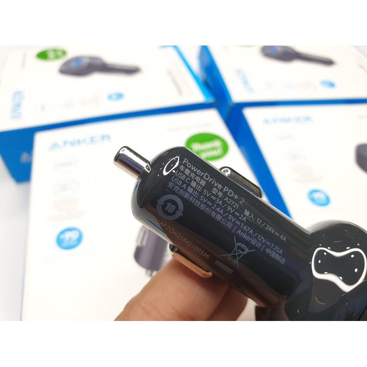 Tẩu sạc ô tô Anker 2 Cổng 33W, PowerDrive PD+2 - A2721 trang bị 1 cổng USB-C PD 18W và 1 cổng USB 2W với PowerIQ