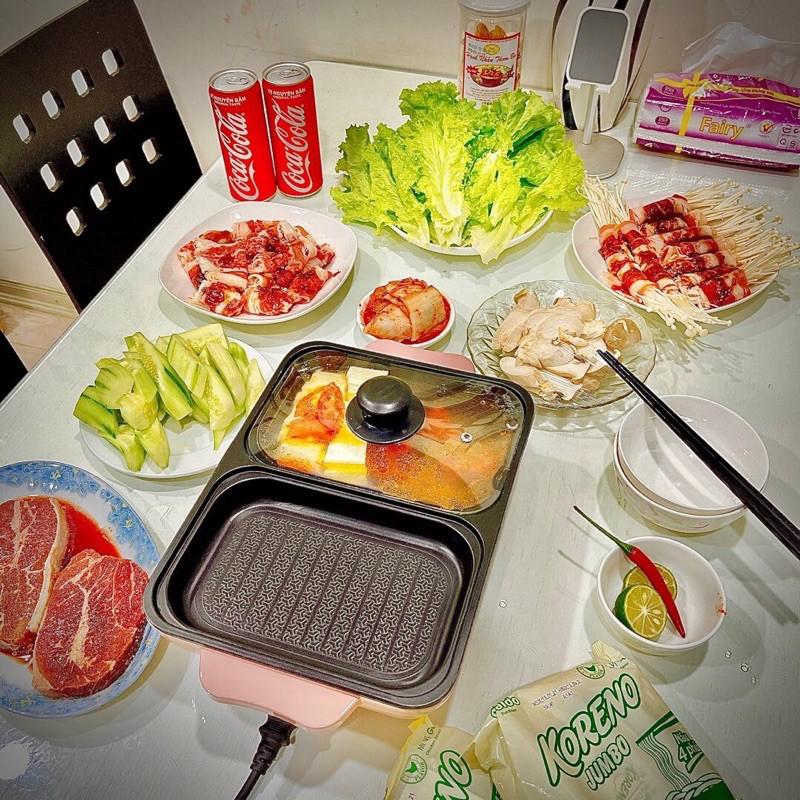 Nồi lẩu nướng 2in1 Hàn Quốc 2 nút điều chỉnh nhiệt độ - Nồi lẩu điện nướng 2 ngăn Hàn Quốc mini - Bếp nướng kiêm lẩu.