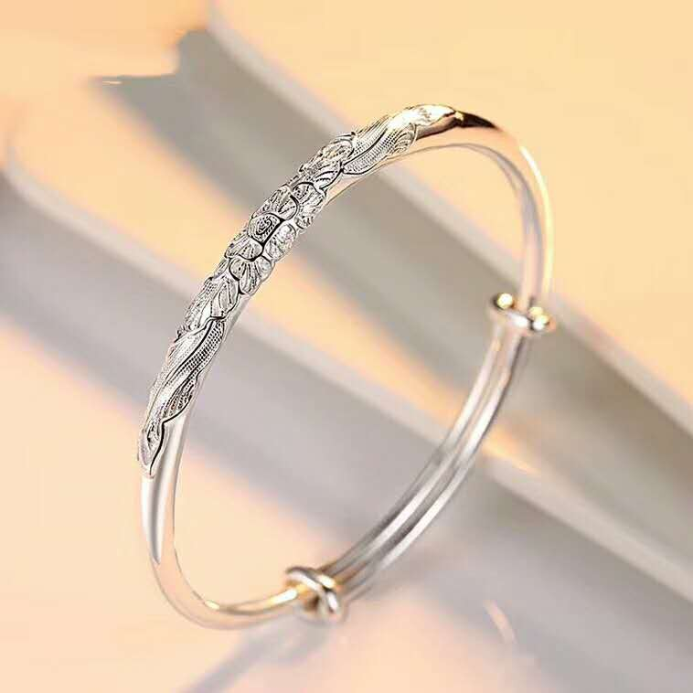 ❈┅Silver bracelet S9999 pure woman million foot open gloss to send girlfriend free inscription old Fengxiang Xiangxiang