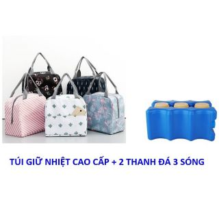 Sét túi giữ nhiệt họa tiết cao cấp + 2 thanh đá 3 sóng thumbnail
