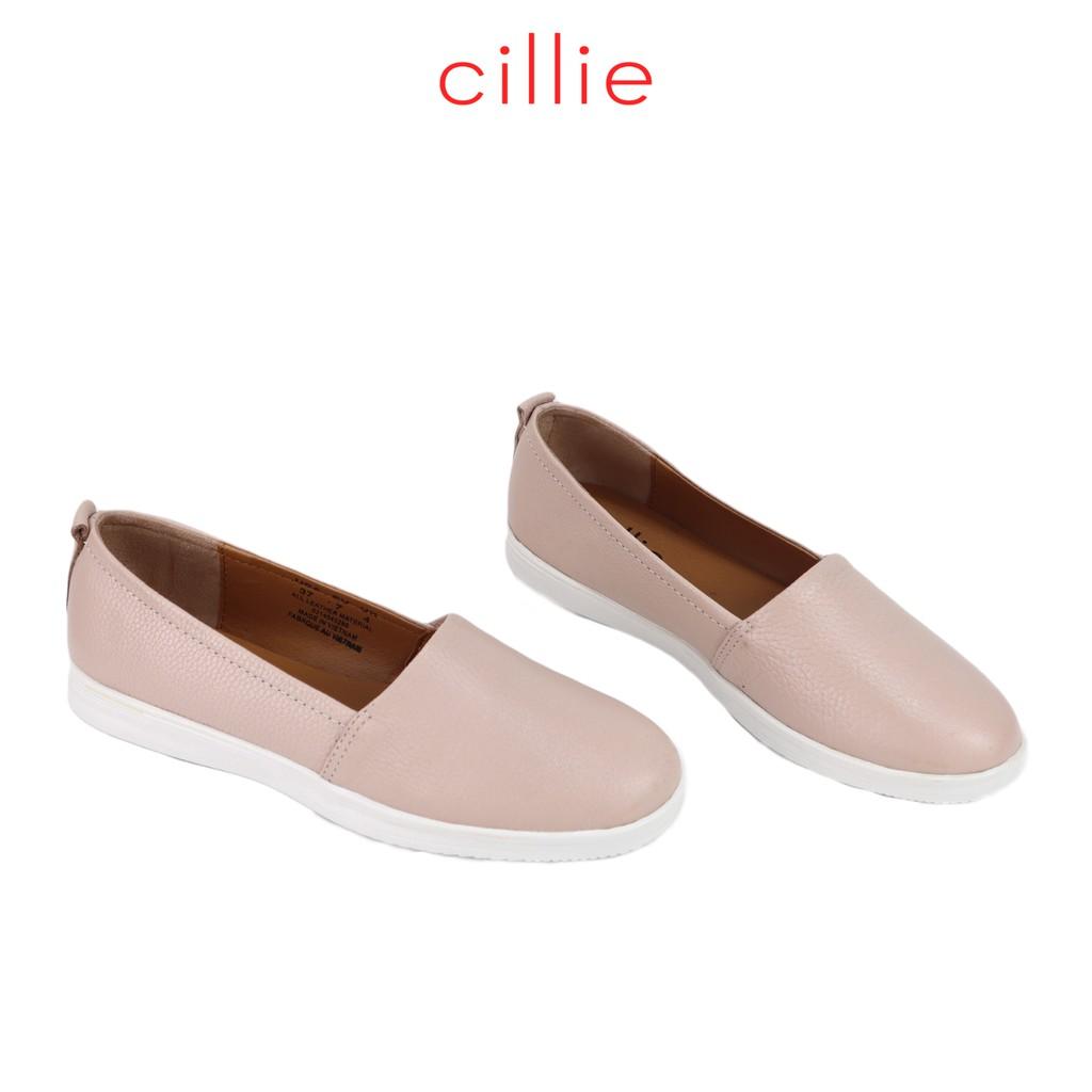 Giày slip on nữ thời trang kiểu dang basic đế bằng da thật êm mềm ôm chân Cillie 1016
